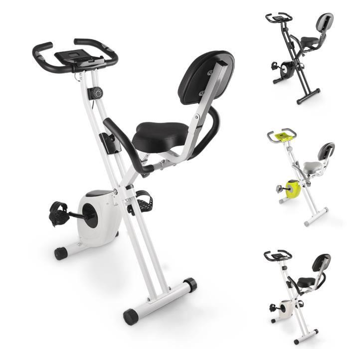 BIGZZIA Vélo d'appartement - poignées ergonomiques - 8 Niveaux de Résistance - Écran LCD avec 6 fonctions - Noir et Blanc