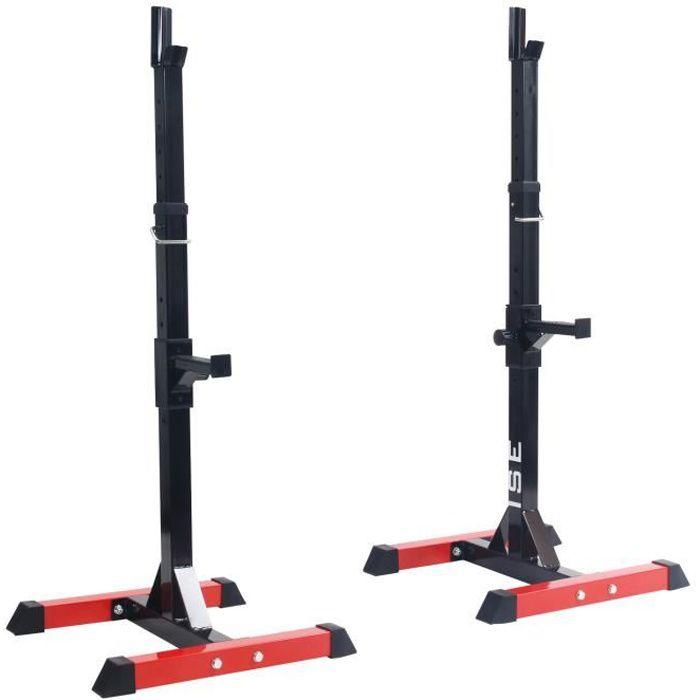 ISE Cage de Squat Support de Squat Réglable Squat Rack Avec Barre de Support pour Haltères-Charge Max.200kg-15 niveaux de réglages