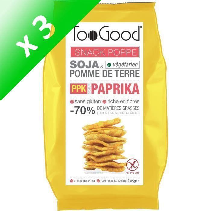 [LOT DE 3] Snack poppé saveur paprika 85 g TooGood