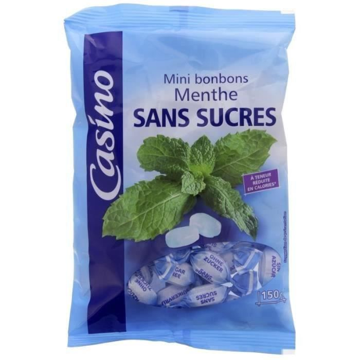 CASINO Mini bonbons à la menthe sans sucres - 150 g