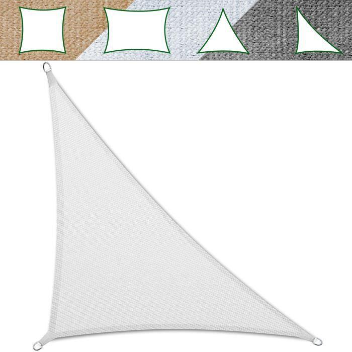Voile Ombrage 4,2x4,2x6 m - Blanc - Triangulaire Matériau HDPE Anti-UV - Lavable en Machine - Densité 180g - m² - Toile Tendue