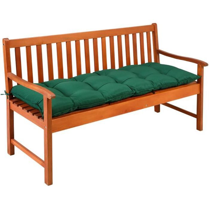Coussin de banc avec attaches - Intérieur Extérieur Coussin pour banc Banquette - 145x45x8cm - 100% Polyester - Vert