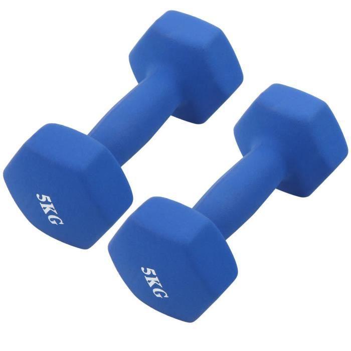 YOS- Haltères hexagonales 2Pcs x 5kg Entraînement De Gym À Domicile Haltères Haltérophilie bleu