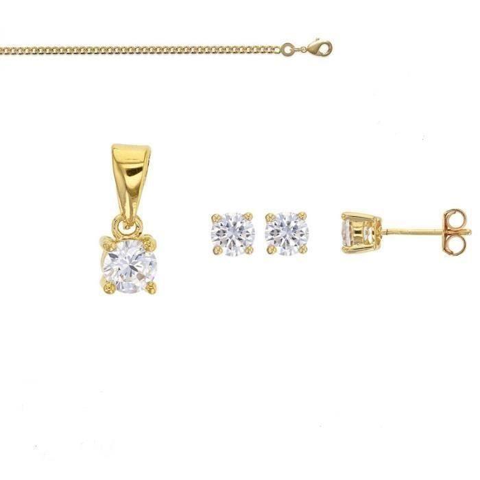 Parure Bijoux Solitaire Cristal Diamant Blanc Femme Or Jaune GF 750*