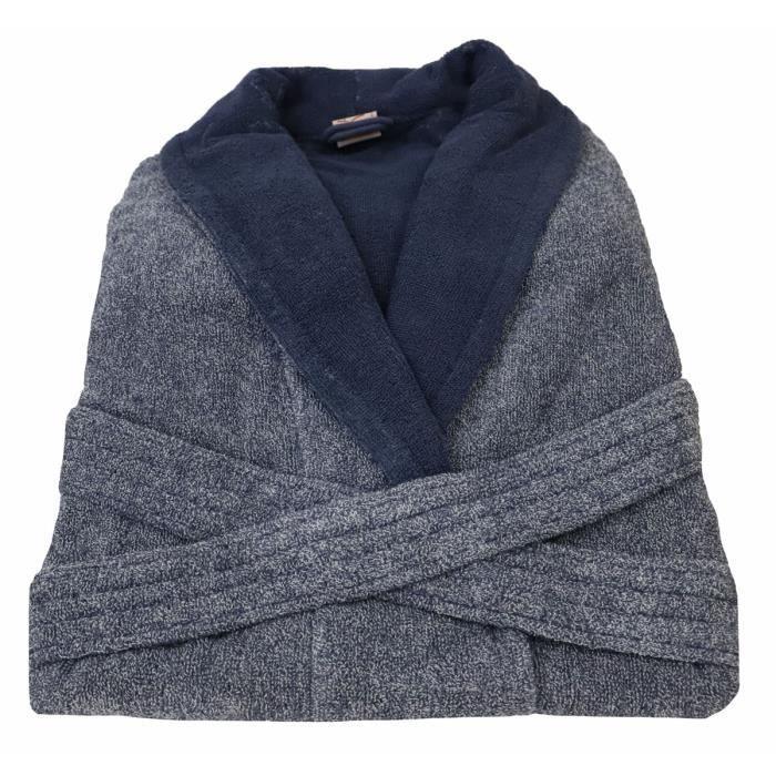 LINANDELLE - Peignoir homme en coton bouclette éponge rasée BICOLORE - Bleu gris - Adulte Homme - M