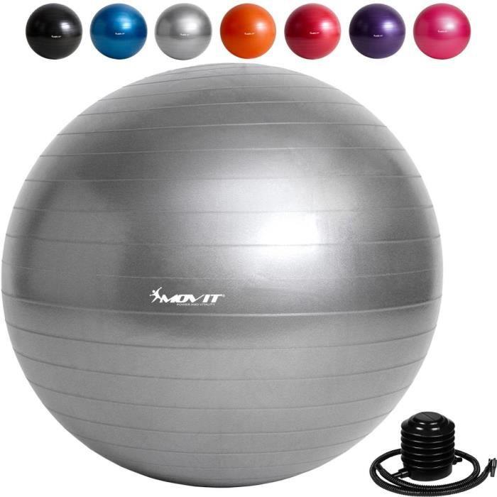 MOVIT Balle de gymnastique grise, 85 cm avec pompe