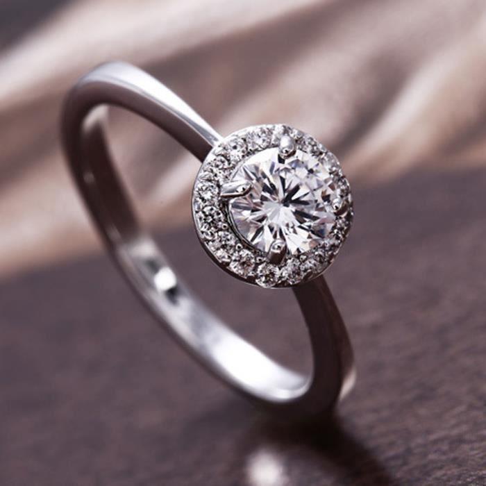 fête mariage bague 18k blanc plaqué or Halo femmes bague coupe ronde cristal taille 54