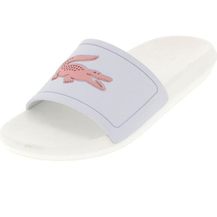 Claquettes mules Croco slide w blanc - Lacoste