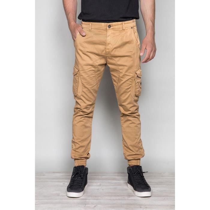 Pantalon cargo slim GARDEN - Camel