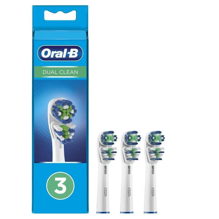 Oral-B Dual Clean Brossettes de Recharge pour Brosse à Dents Électrique Jusqu'à 100 % d'élimination plaque dentaire, Pack de 3