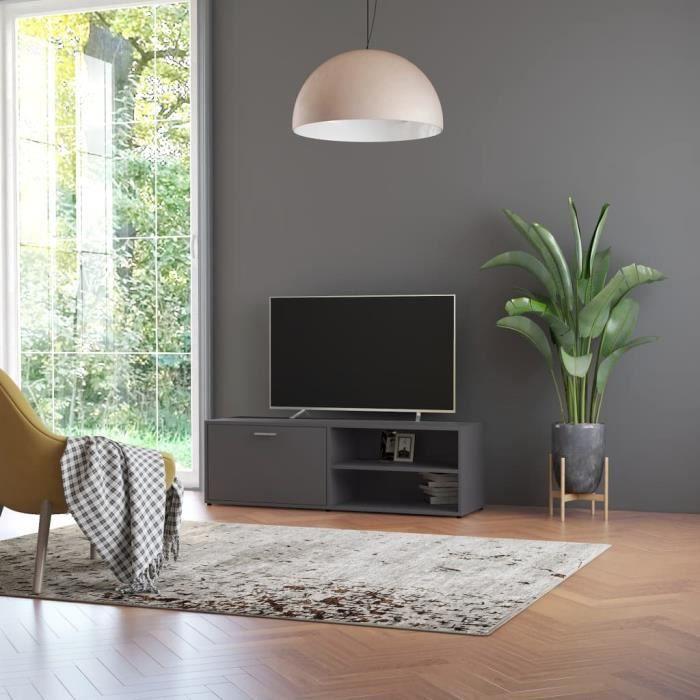 Meuble TV Gris 120x34x37 cm Aggloméré-DIN