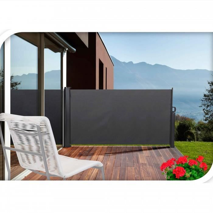 paravent retractable pour votre terrasse aux dimensions de 3 x 1 4 m fixations mur et sol. Black Bedroom Furniture Sets. Home Design Ideas
