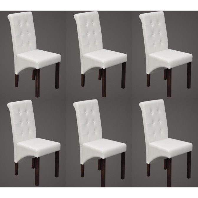 6 chaises design blanches achat vente chaise poly thyl ne bois cdiscount - Chaises blanches design ...