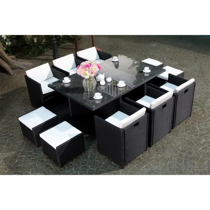 miami 10 salon de jardin encastrable 10 places en r sine tress e noir ecru achat vente. Black Bedroom Furniture Sets. Home Design Ideas