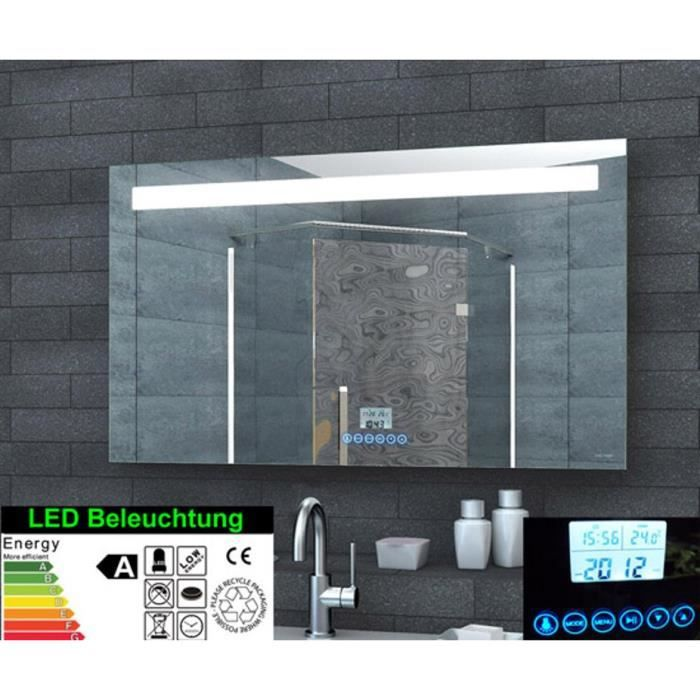 miroir de salle de bain led avec horloge radio mp3 touch interrupteur 100x60cm achat. Black Bedroom Furniture Sets. Home Design Ideas