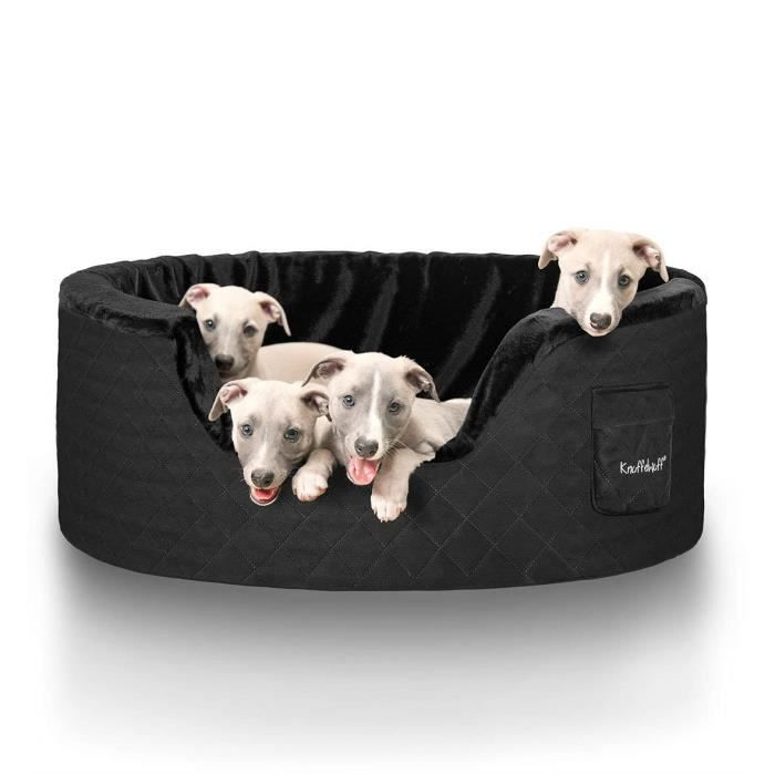 knuffelwuff lit corbeille pour chien henry avec 5 cm de mousse noir xxl achat vente. Black Bedroom Furniture Sets. Home Design Ideas
