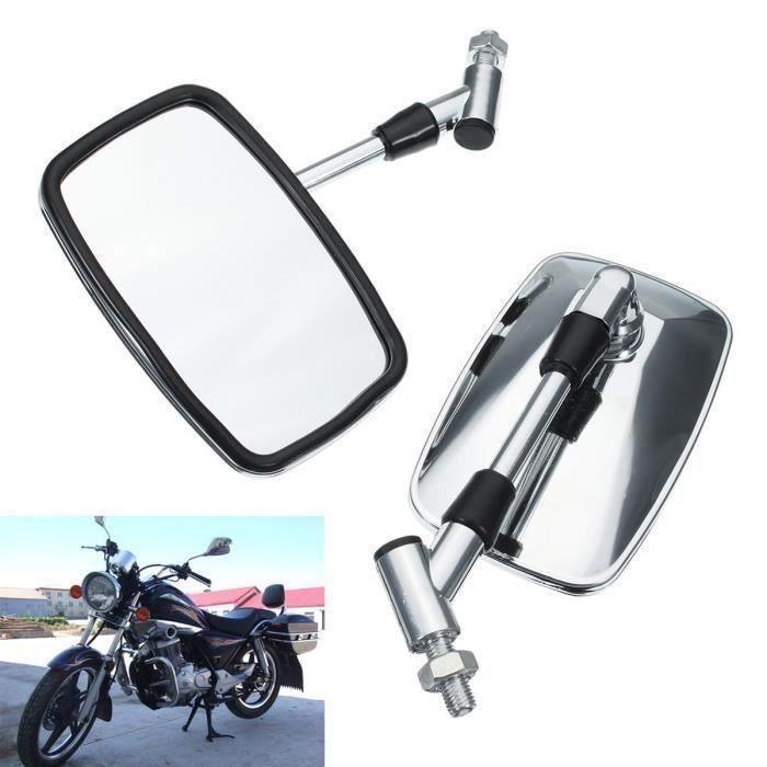 Chrome Universel 10 mm Classique Moto Vélo Scooter Vue arrière Rétroviseurs Paire