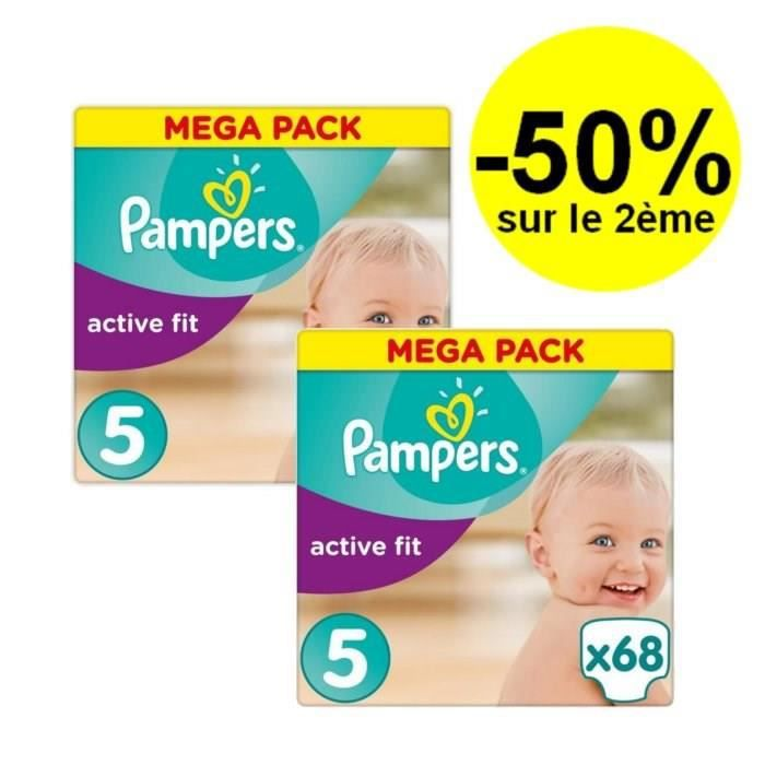 Pampers active fit taille 5 11 25kg 68 couches lot de 2 paquets mega achat vente - Couches pampers active fit taille 5 ...
