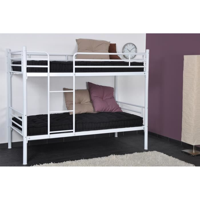 lits superpos s 80x190 en m tal blanc sully achat vente lits superpos s cdiscount. Black Bedroom Furniture Sets. Home Design Ideas