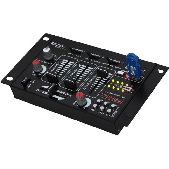 ibiza djm21mkii table de mixage 4 pistes usb bt table de mixage prix pas cher cdiscount. Black Bedroom Furniture Sets. Home Design Ideas