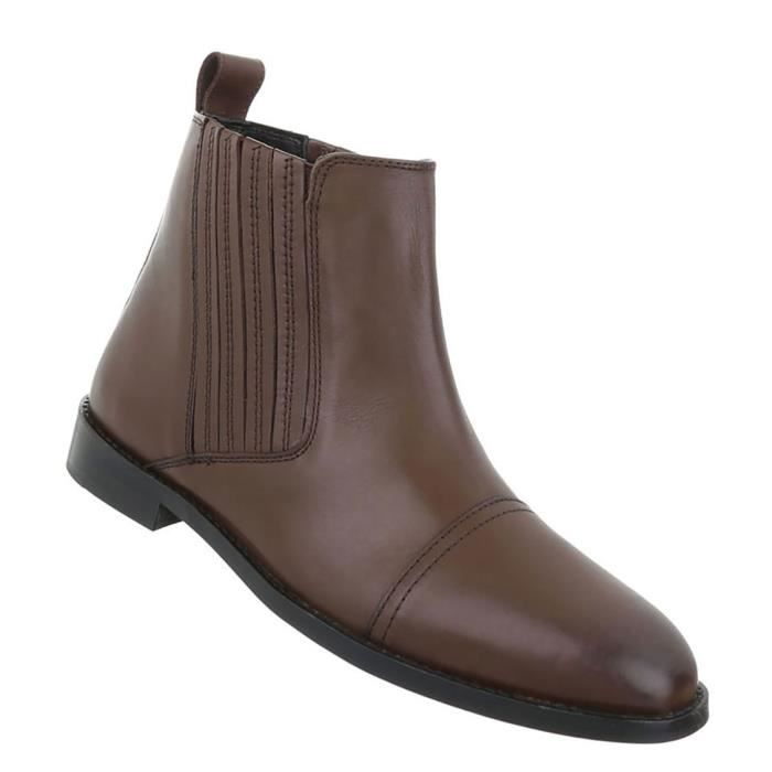 Chaussures Hommes Bottes Used optique cuir marron 47