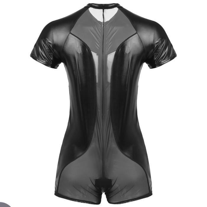 Maillot de Corps Homme Body en Cuir Verni Sous-vêtement Combinaison Boxer Shorts