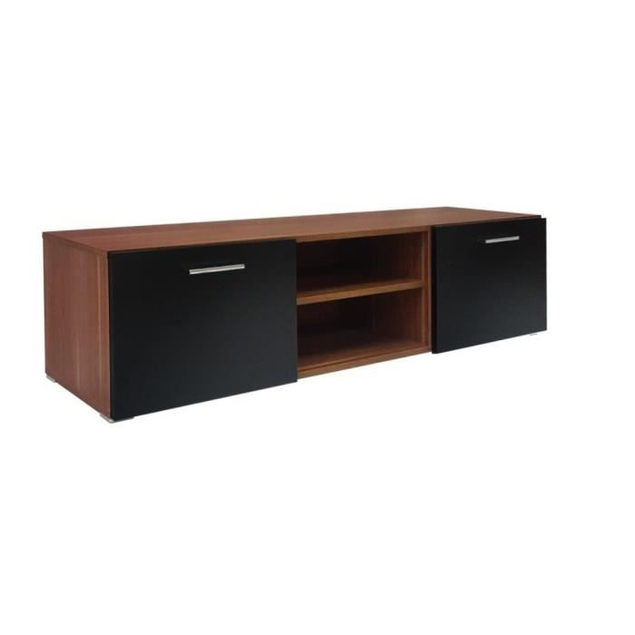 meuble tv 150 cm aspect noyer et fa ade noir achat. Black Bedroom Furniture Sets. Home Design Ideas