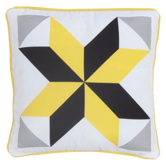 coussin motif carreaux ciment jaune citron 30x30cm moncornerdeco. Black Bedroom Furniture Sets. Home Design Ideas