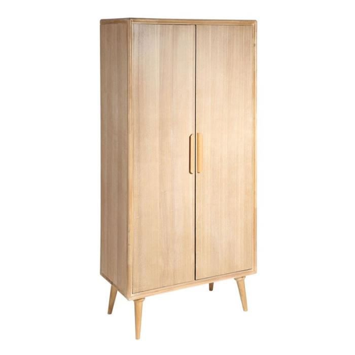 armoire 2 portes bois naturel bergen l 82 x l 42 x h 168 cm achat vente armoire de. Black Bedroom Furniture Sets. Home Design Ideas