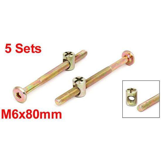M6x60mm vis à têtes de boulons de connexion meuble écrous barillet 5 ensembles