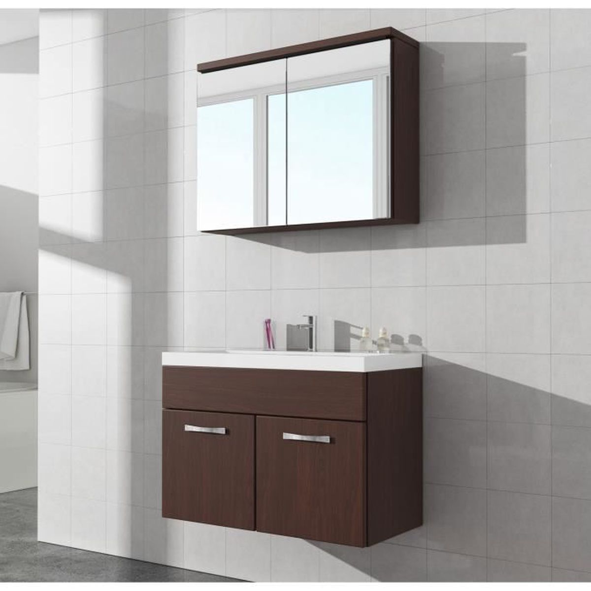 meuble de salle de bain paso 02 armoire miroir meuble lavabo vier meuble lavabo ch ne fonc. Black Bedroom Furniture Sets. Home Design Ideas