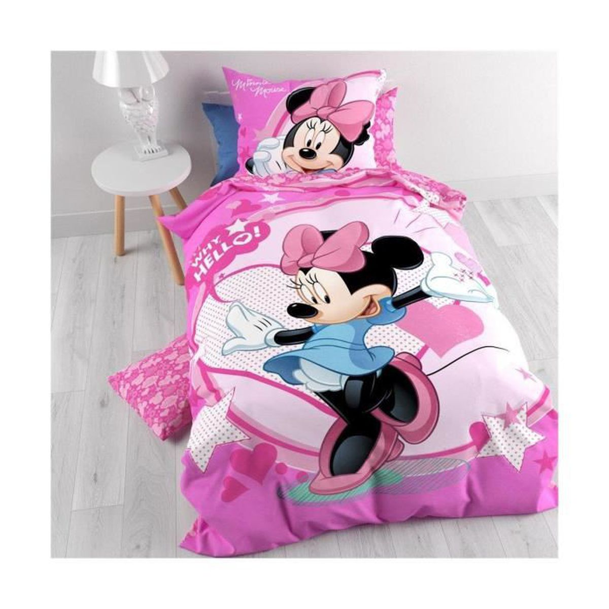 parure de lit 1 personne minnie achat vente parure de. Black Bedroom Furniture Sets. Home Design Ideas
