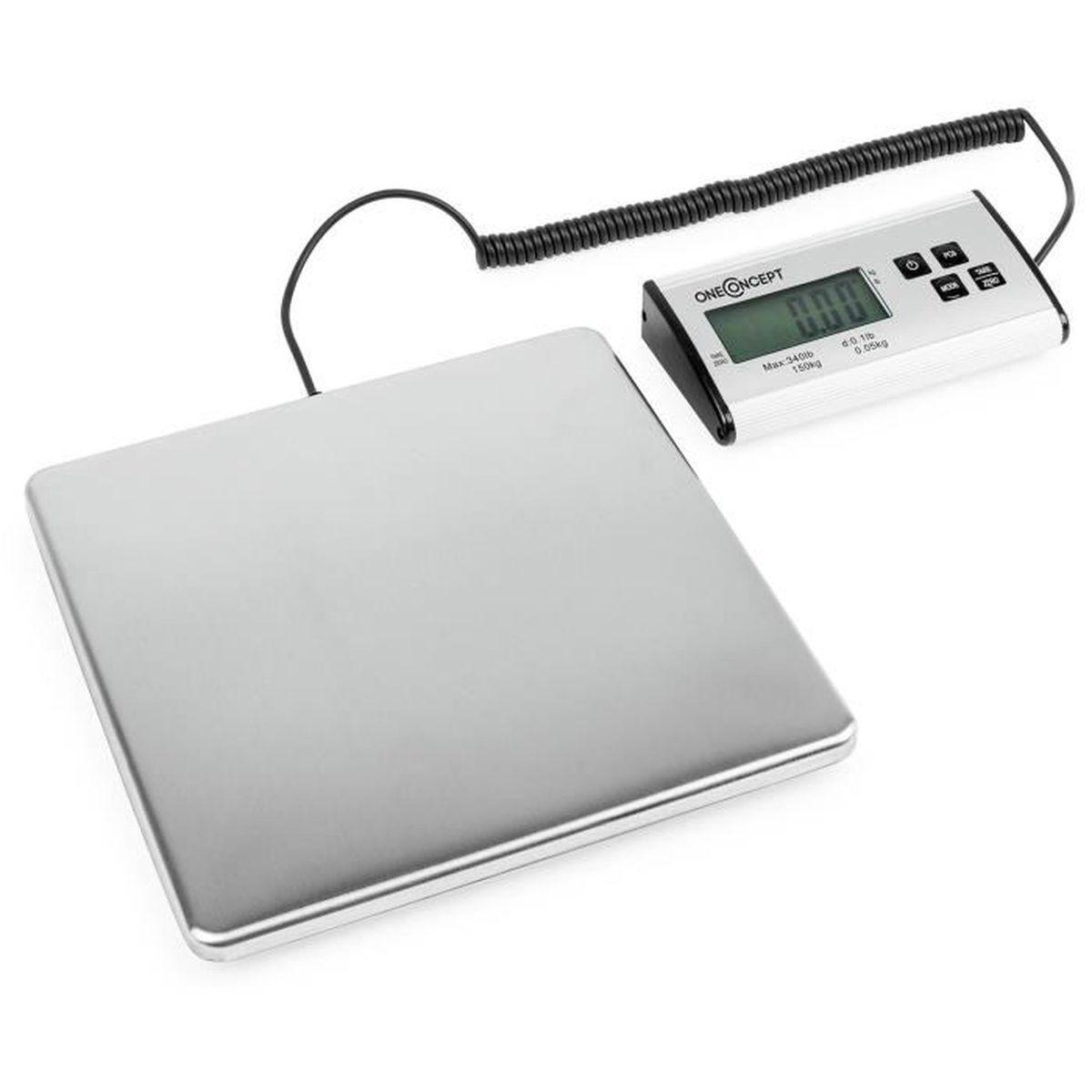 oneConcept Marketeer Balance Pèse-colis numérique balance 150kg//50g 27x27cm