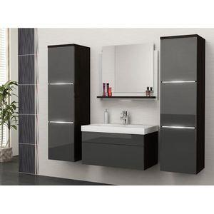 Salle de bain complète LUNA wengé et gris façade laqué ...