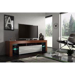 MEUBLE TV Meuble tv 160 cm noyer MDF et blanc laqué avec led