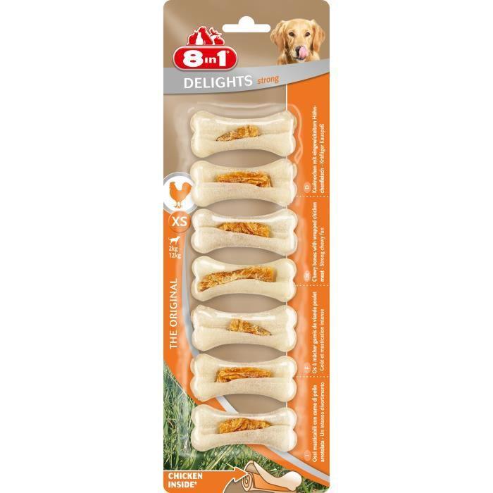 8IN1 Friandise os à mâcher ferme Delight - Garni de viande de poulet - Pour chien - 7 pièces