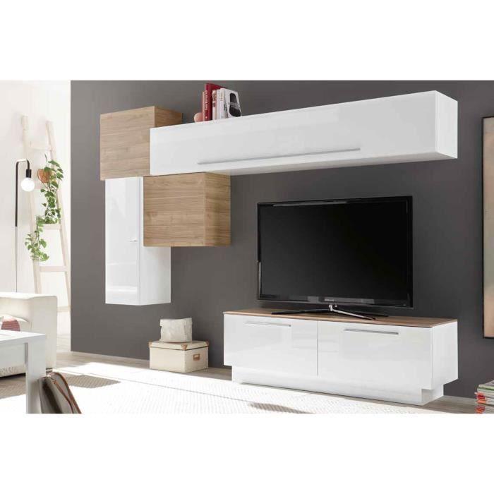 LUDOVICA 10 LAQUE BLANC ET NOYER ENSEMBLE COMPOSITION MURALE MEUBLE TV TENDANCE