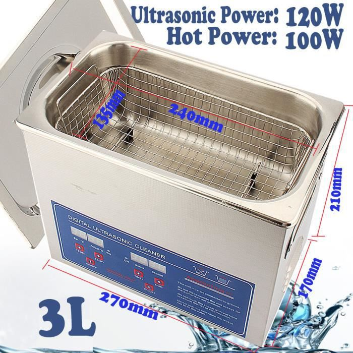 3L Nettoyeur à Ultrasons Numérique Nettoyage Ultrasonic Transducteur Chauffage