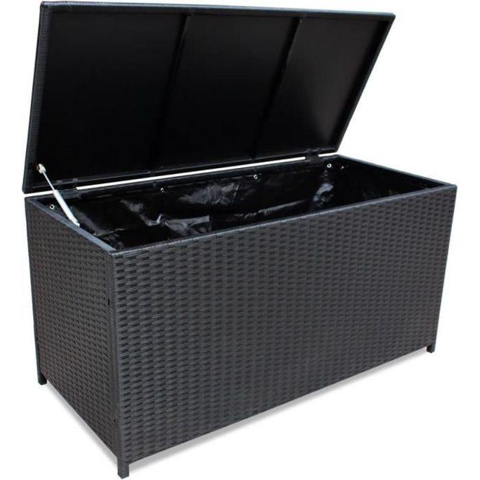 Boîte de rangement de jardin Noir 150x50x60 cm Résine tressée-QIM