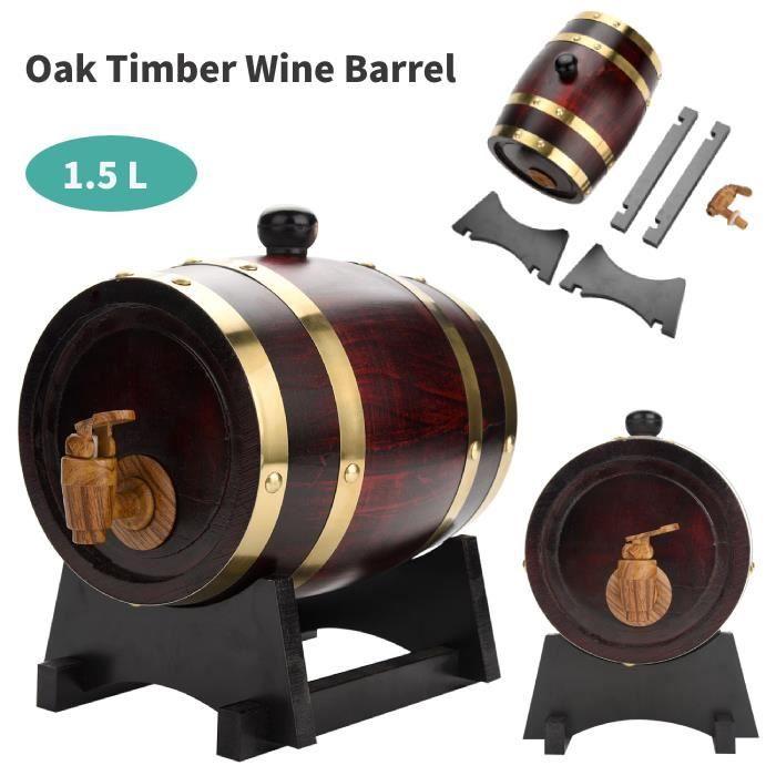 Nouvelle Arrivee HB037 Baril de chêne (1.5L), VIN ROUGE - ALCOOL - LIQUIDE tonneau en bois de chêne avec support pour le stockage