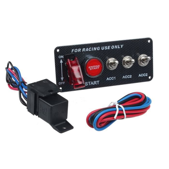 12V Racing voiture LED interrupteur d'allumage du panneau de démarrage du moteur bouton poussoir HJQ50601147A