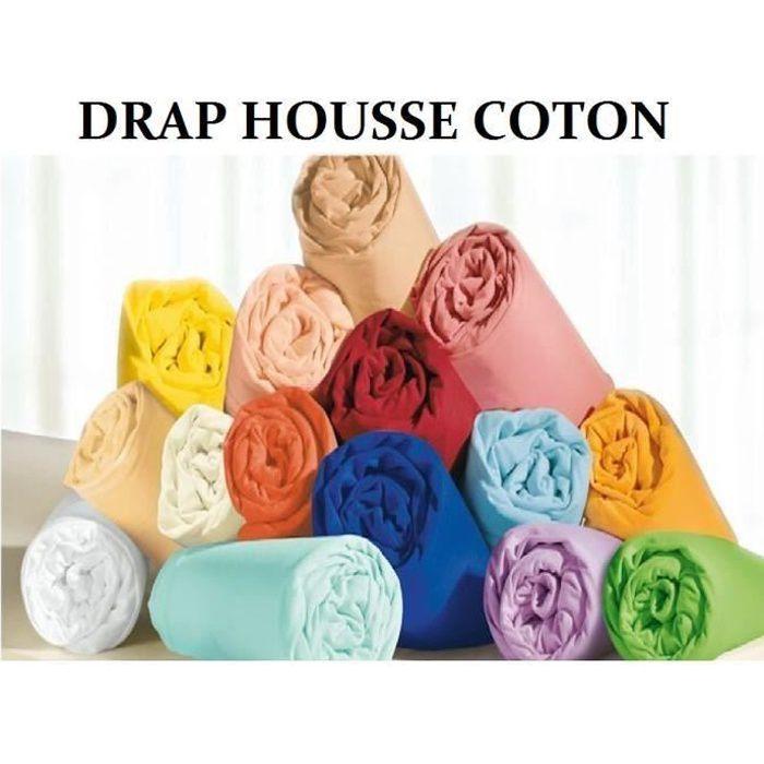 drap housse 160x200 turquoise 100%coton