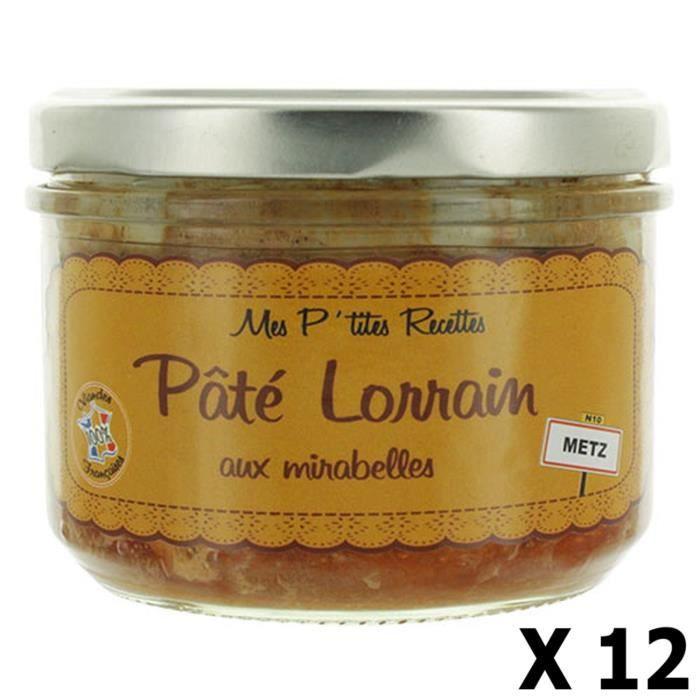 Lot 12x Pâté Lorrain aux mirabelles - Fabriqué en France - Mes P'tites Recettes - pot 220g