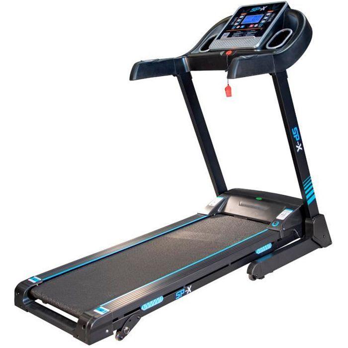 Tapis de course Pliable SPX -14km/h - 2,0 Cv - 12 Programmes - Inclinaison, Capteurs Cardiaque, Ecran LCD, Bluetooth et Haut-Parleur