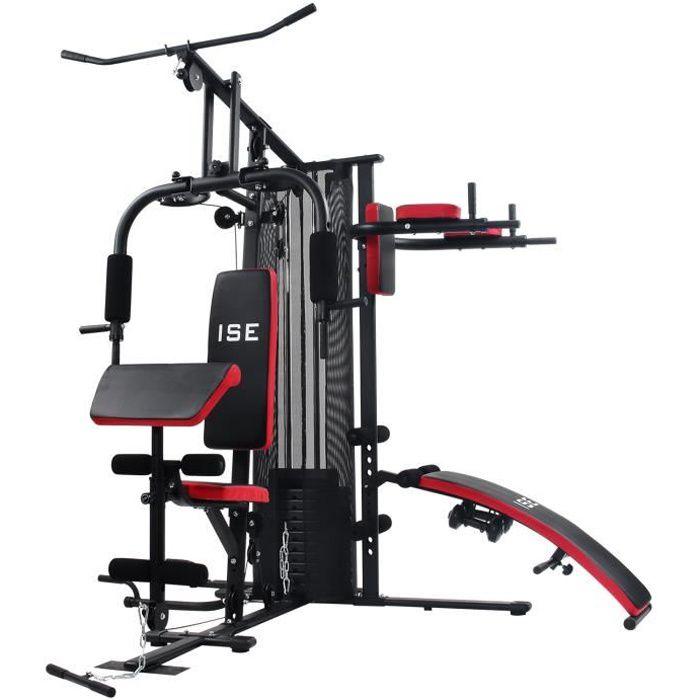 ISE 50 en1 Station de Musculation Multifonction Mixte Complet,Appareil de Musculation avec Poids 45KG,Construction Robuste,Câbles