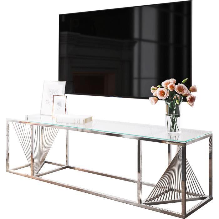 Meuble tv design en acier inoxydable poli argenté et verre trempé L. 160 x P. 45 x H. 45 cm collection BOLZANO Argenté, Transparent