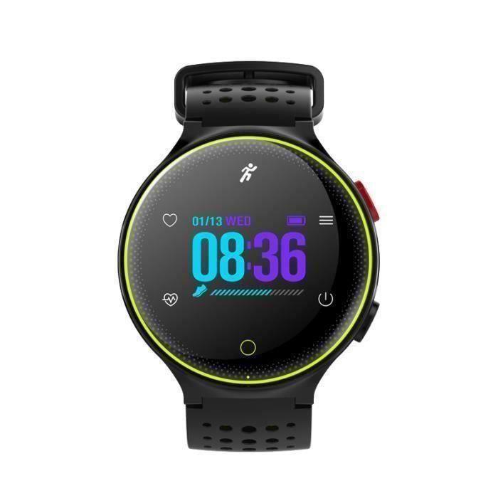 Montre Connectée de Sport IP68 Imperméable Écran couleur Capteur Cardiaque Podomètre Sommeil–Tracker Activité Bluetooth 4.0-Vert