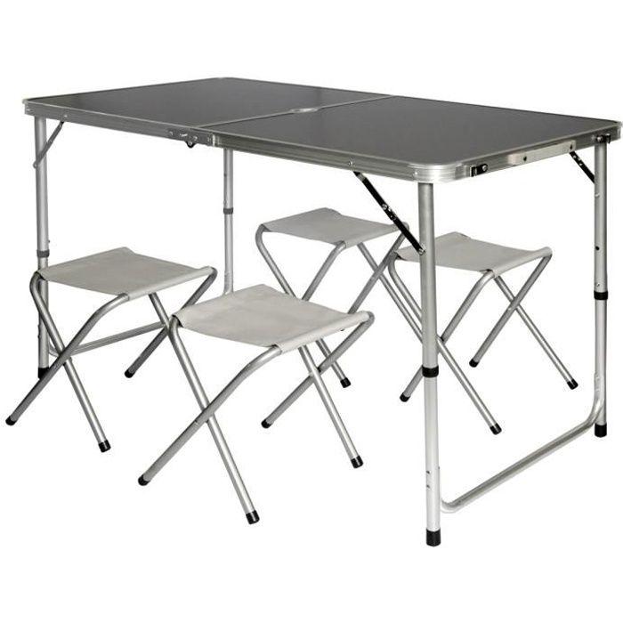 Table de camping pliable réglable en hauteur 120x60x70cm incl. 4 Tabourets pliants Format mallette Gris foncé