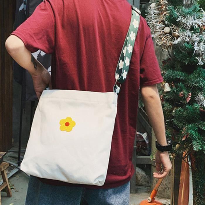 1 PC sac en toile motif floral hipster simple fourre-tout à bandoulière à pour filles dames HOOK BAG