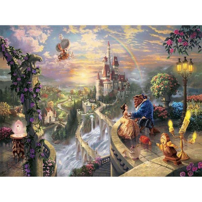 Peinture en diamant point de croix style la belle et la bête au château - Mosaïque en strass r - Modèle: Round 60x45cm - ZHQZA58083
